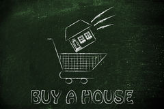 Real estate market,  house dropped into shopping cart Royalty Free Stock Photography