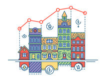 Real estate market. House sale and buy home, vector illustration Royalty Free Stock Photos