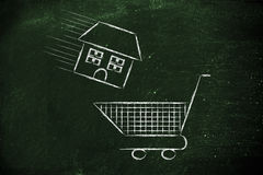 Real estate market,  house into shopping cart Royalty Free Stock Images