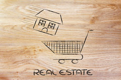 Real estate market, house into shopping cart stock photography