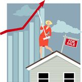 Real estate market manipulation. Female real estate agent attempting to bent house price graph upwards with a broom, EPS 8 vector illustration vector illustration