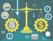 Real estate and money in balance stock illustration