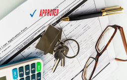 Real Estate Mortgage Approved Loan Agreement. Mortgage Approved Loan Document With House Keys and Ball Pen Royalty Free Stock Images