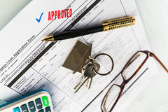 Real Estate Mortgage Approved Loan Agreement. Mortgage Approved Loan Document With House Keys and Ball Pen Royalty Free Stock Photo