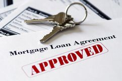 Real Estate Mortgage Approved Loan Document. With House Keys royalty free stock images