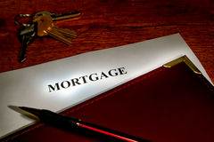 Real Estate Mortgage Lender Document and Keys royalty free stock image