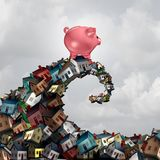 Real Estate Mortgage. Lending concept as a piggy bank riding a housing wave as a family home renovation or buying budget symbol as a 3D illustration Royalty Free Stock Image