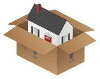 Real-estate Moving House Packing Box Vector Illustration. Sharp clean real estate image of a cute colonial style house, in a packing or shipping box, isolated on royalty free illustration