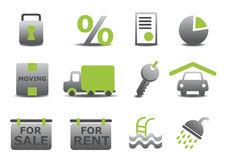Real estate and moving icons set. Vector illustration of real estate and moving icons set.You can use it for your website, application or presentation Stock Photography