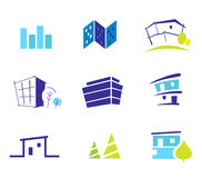 Real estate, nature and architecture icons. Icon collection for modern houses inspired by nature and simplicity. Vector Illustration Stock Photos