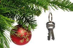 Real Estate New Home Keys As Christmas Ornament Royalty Free Stock Photography