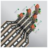 Real Estate och egenskapsaffär Infographic med vägen till Isome Arkivfoto