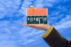 Real estate offer. Real estate business woman presenting a housing solution for the future stock photography