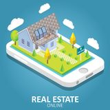 Real estate online vector isometric illustration. Real estate online concept. Vector isometric illustration. Smartphone with house building, for sale sign Royalty Free Stock Photo