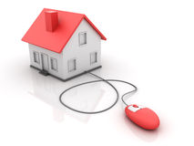 Real Estate - Online House. Three dimensional illustration of House with Computer Mouse for Online Real Estate Concepts Royalty Free Stock Images