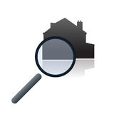 Real estate online search vector. Vectored illustration of magnifying glass hovering a stylized house, related to web sites selling real estates and commercial Royalty Free Stock Photos