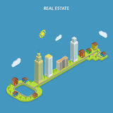 Real estate online searching isometric concept. Stock Photos