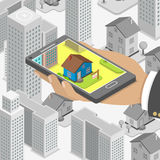 Real estate online searching isometric concept. Real estate online searching isometric flat vector concept. Man with smartphone is looking for a house for Royalty Free Stock Photography