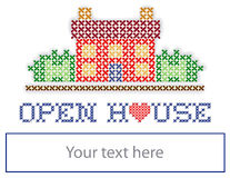 Real Estate Open House Yard Sign. Open House real estate sign, retro cross stitch embroidery design, house with a big red heart, copy space to personalize with Stock Images