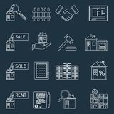 Real estate outline icons Royalty Free Stock Photography