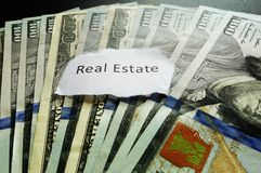 Real estate. Paper note on hundred dollar bills Royalty Free Stock Photo