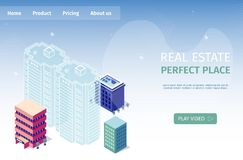 Real Estate Perfect Place Vector Illustration. Virtual Tour Future Real Estate Project Isometric. Multi Plan Video Presentation Sales Department New royalty free illustration