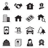 Real Estate-pictogrammen Royalty-vrije Stock Foto