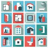 Real Estate-pictogrammen Stock Afbeeldingen
