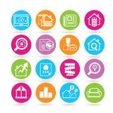 Real Estate-pictogrammen Royalty-vrije Stock Afbeeldingen