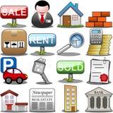 Real Estate-Pictogramreeks Stock Fotografie