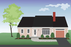 Real Estate Pink House. Pink house with a one car garage with a landscaped yard. Freehand royalty free illustration