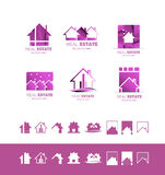 Real estate pink set logo icon purple Stock Photography