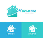 Real estate and plane logo combination. House and travel symbol or icon. Unique rent and flight logotype design template Stock Images
