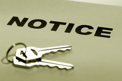 Real Estate Printed Notice with Set of House Keys. Real estate notice warning letter with set of house keys Royalty Free Stock Images