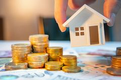 Real estate investment. Saving money concept. Real estate or property investment growing business. Home mortgage loan rate. Saving money for retirement concept stock photo