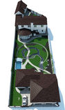 Real Estate ptaka oka widok Odizolowywający nad Białym tłem, 3D rendering Obraz Royalty Free