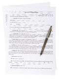 Real estate purchase agreement. With pen on white background Stock Photo