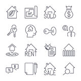 Real estate realtor deals icon set. For sale and rent signs. Eco house, keychain, contract and more. Thin black line art. Linear s Stock Photo