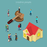 Real estate realty auction house building flat isometric vector. Real estate realty auction flat 3d isometry isometric concept web vector illustration. Micro Royalty Free Stock Photo