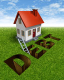 Real Estate Recovery. And help paying down mortgage debt with a house in front of a grass landscape with the word debt as a hole in the ground and a ladder as a Royalty Free Stock Photos