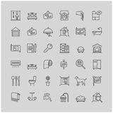 Real estate related vector line icons set Royalty Free Stock Images