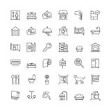 Real estate related vector outline icons set Stock Images