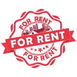 Real Estate - For Rent- rubber grunge stamp Stock Image