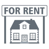 Real estate rental icon. House with a sign for rent. Vector illustration Royalty Free Stock Photography