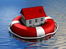 Real estate rescue. House and lifebuoy on water surface - 3d render illustration Royalty Free Stock Image