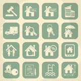 Real estate retro icon set. Vector illustration Stock Images
