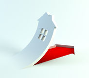 Real estate are rise in price. Sign of symbolic house, 3d render Stock Images