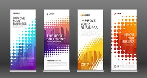 Real estate roll up banners design templates set stock illustration