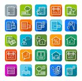 Real estate, sale, rent, badges, color, line. Royalty Free Stock Images