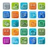 Real estate, sale, rent, badges, color, line. Royalty Free Stock Images
